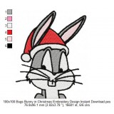 100x100 Bugs Bunny in Christmas Embroidery Design Instant Download