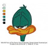 100x100 Face of The Plucky Duck Embroidery Design Instant Download