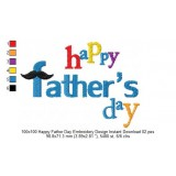 100x100 Happy Father Day Embroidery Design Instant Download 02