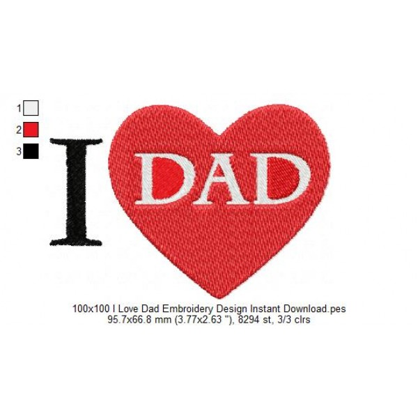 100x100 i love dad embroidery design instant download - I love you daddy download ...