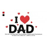 100x100 I Love Dad Father Day Embroidery Design Instant Download