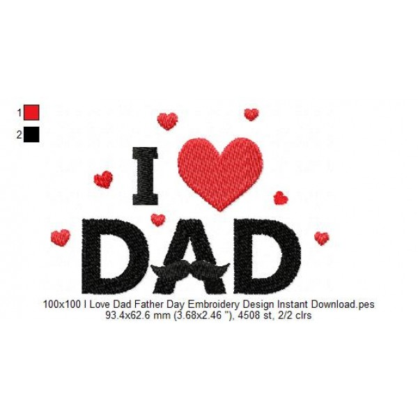 100x100 i love dad father day embroidery design instant - I love you daddy download ...