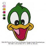 100x100 Plucky Duck Face Embroidery Design Instant Download