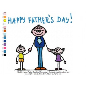 130x180 Happy Father Day Dad! Embroidery Design Instant Download