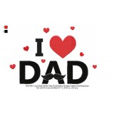 130x180 I Love Dad Father Day Embroidery Design Instant Download