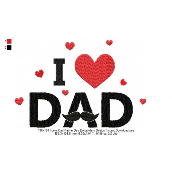 130x180 i love dad father day embroidery design instant - I love you daddy download ...