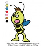 Angry Willy Maya the Bee Embroidery Design