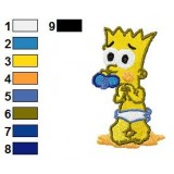 Baby Bart Embroidery Design