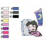 Baby Betty Boop Slpeeing in Lunar Night Embroidery Design