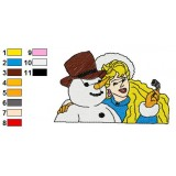 Barbie with Snow Man Embroidery Design