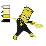 Bart Simpson Lanterna Amarelo Embroidery Design
