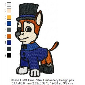 Chase Outfit Paw Patrol Embroidery Design