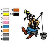 Goofy Fishing Time Embroidery Design
