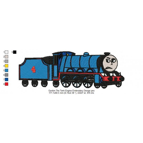 gordon the tank engine embroidery design