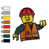 Happy Emmett The Lego Movie Embroidery Design