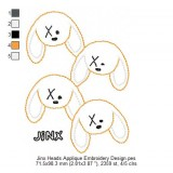 Jinx Heads Applique Embroidery Design