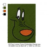 K9 Face Looney Tunes Embroidery Design