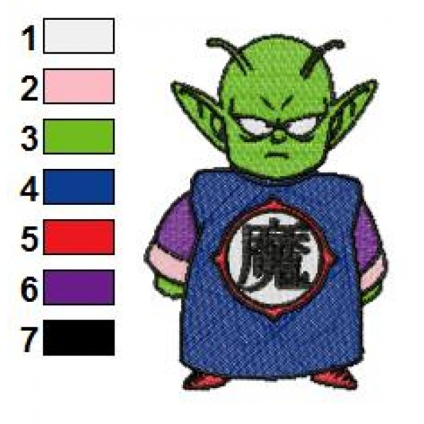 Kid Piccolo Dragon Ball Z Embroidery Design
