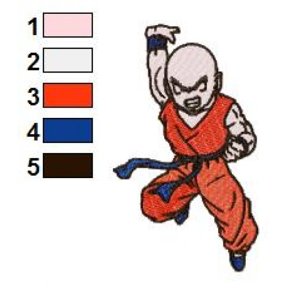 Krillin Dragon Ball Z Embroidery Design