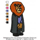 Madagascar The Lion of Disney Embroidery Design