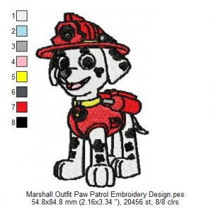 Marshall Outfit Paw Patrol Embroidery Design