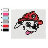 Marshall Paw Patrol Flat Face Embroidery Design