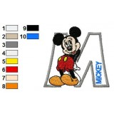 Mickey Mouse Alphabets Embroidery Design
