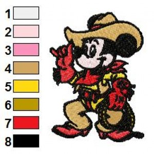 Mickey Mouse Cowboy Embroidery Design