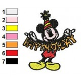 Mickey Mouse New BirthDay Embroidery Design