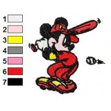 Mickey Mouse Playing Baseball Embroidery Design