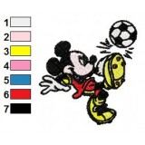 Mickey Mouse Playing Soccer Embroidery Design