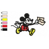 Mickey Mouse Postman Embroidery Design