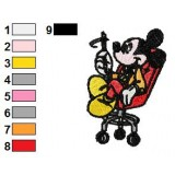 Mickey Mouse Setting Embroidery Design