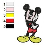 Mickey Mouse Thinking Embroidery Design