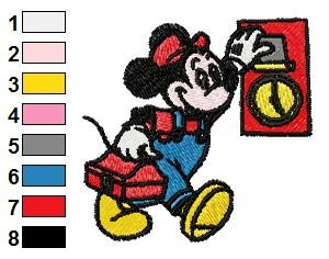 Mickey Mouse at Work Embroidery Design