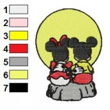 Mickey and Minnie Mouse at Sunset Embroidery Design