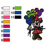 Minnie Mouse with Baloons Embroidery Design 02