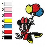 Minnie Mouse with Baloons Embroidery Design