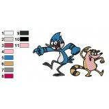 Mordecai and Rigby Regular Show Embroidery Design