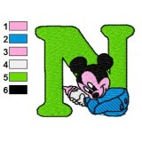 N Mickey Mouse Disney Baby Alphabet Embroidery Design