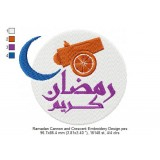 Ramadan Cannon and Crescent Embroidery Design