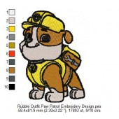 Rubble Outfit Paw Patrol Embroidery Design