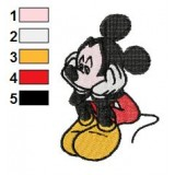 Sad Mickey Mouse Embroidery Design