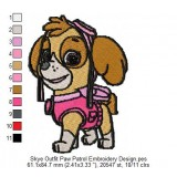 Skye Outfit Paw Patrol Embroidery Design