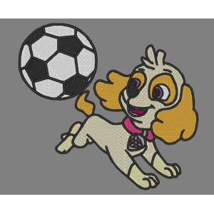 Skye Paw Patrol Plays Football Embroidery Design