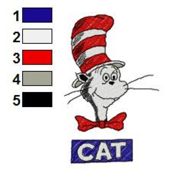 The Cat In The Hat Dr Seuss Embroidery Design