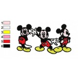 Three Happy Mickey Mouse Embroidery Design