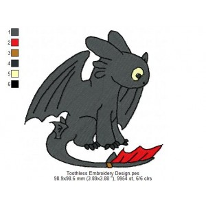 Toothless Embroidery Design