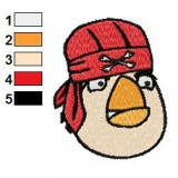White Angry Bird with Skull Hat Embroidery Design