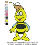 Willy From Maya the Bee Embroidery Design